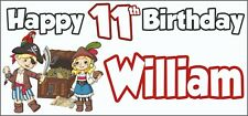 Pirate 11th Birthday Banner x 2 - Party Decorations - Personalised ANY NAME