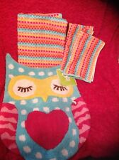 CIRCO LOVE 'N NATURE OWL 4 pc Bathroom LOT- RUG  & Bath Towels & 2 Hand NEW