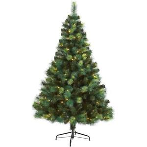 Nearly Natural Assorted Green Pre lit Scotch Pine Artificial Christmas Tree 6FT.