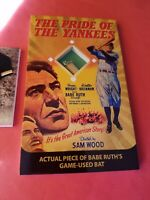 BABE RUTH GAME USED BAT PIECE OVERSIZED 3X5 CARD Breygent MOVIE POSTERS YANKEES