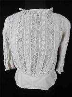 RARE FRENCH VICTORIAN-EDWARDIAN WHITE COTTON FULL LACE BLOUSE SIZE 36