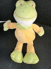 doudou peluche grenouille verte jaune ORCHESTRA 29cm