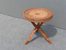 Unique Vintage Carved Floral Design Teak wood Key Side Table  Occasional