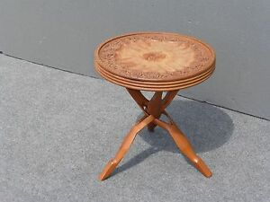 Unique Vintage Carved Floral Design Teak wood Key Side Table  Occasional