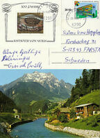 UNITED NATIONS 1983 RELIEF OF VIENNA MINIATURE SHEET TO POSTCARD MAYRHOFEN CDS