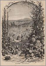 1879 : ILLUSTRATION / GRAVURE : Les VENDANGES  par Yan' DARGENT