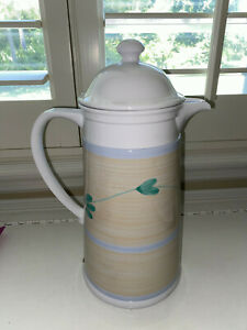 """VINTAGE  A.K. DAS THERMAL COFFEE CARAFE PITCHER YELLOW GREEN BLUE 12""""x5.5"""""""
