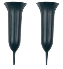 Set of 2 Memorial Grave Vases with Spike Cemetery Crematorium Flower Vases Pots