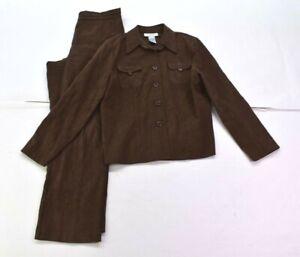 Sag Harbor Women Button Front Flap Pocket Jacket Pull On Pant 2 Piece Suit 10P