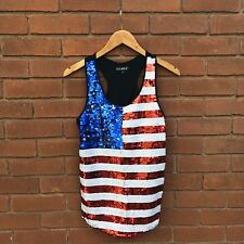 American Flag Sequin Tank Top, Large, BNWT