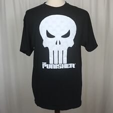 Punisher Marvel Mens Large T Shirt Black Short Sleeve Cotton Mad Engine Textured