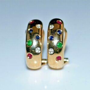 14k Gold Ruby, Sapphire, Emerald & Diamond Hoop Earrings, Leverback, Pierced