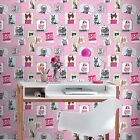 COOL CRAZY CATS WALLPAPER - RASCH 272802 - NEW PINK BEDROOM KITTEN