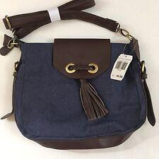 Denim Crossbody Messenger Bag Purse W/ Tassel Brown Faux Leather Trim