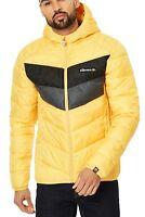 Ellesse Ginap Padded Puffer Jacket Mens Winter Hooded Winter Coat Retro Yellow