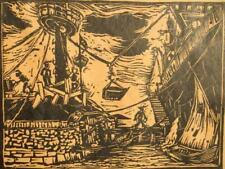 Loading Coal, Kuruçeşme, Turkey; original lino cut engraving 1930's