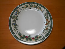 "Fairfield China WINTERGREEN Set of 4 Dinner Plates 10 3/8"" Green Pinecones A"
