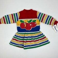 Vintage Buster Brown Girls Striped Apple Dress 2T NWT