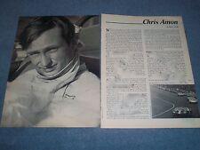 1967 Chris Amon F1 Formula One Race Car Driver Vintage Profile Article