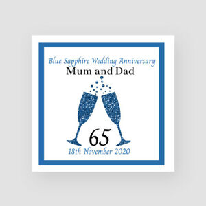 65th Blue Sapphire Wedding Anniversary Card Personalised Champagne Glasses