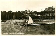 AK Potsdam Pirschheide 1927 (?) Luftschiffhafen Regattahaus Bootssteg Segelboot