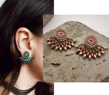 Handmade Floral Ear Jacket Cuff Earrings Pink Mocha Brown Copper Gray Seed bead