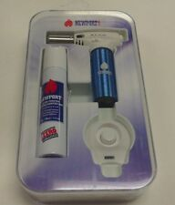 NEWPORT TORCH LIGHTER JR TURBO CHARGED BLUE WITH BUTANE AND STAND QUALITY