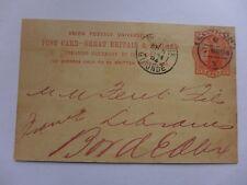 ENTIER POSTAL 1894  GRANDE BRETAGNE IRLANDE  LONDRES  BORDEAUX carte postale