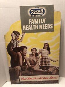 1940s REXALL DRUG Advertising CARDBOARD PHARMACY COUNTERTOP Family Health Needs