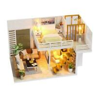 DIY 3D Wooden LED Dollhouse Miniature Furniture Doll For Kids House Toys U9Y4