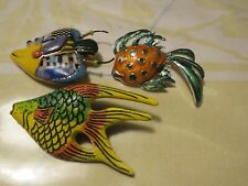 CYNTHIA HUANG Porcelian Whimsical JEWELRY 10 FISH Brooch Very Colorful Plus 2