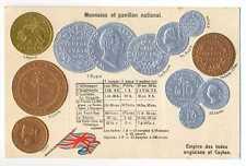 British India Ceylon Coins on German Ad Postcard ca 1910 RARE Mint Condition
