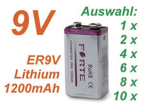 9V Lithium Blockbatterie Rauchmelder 1200mAh Feuermelder E Block ER9V Forte Batt