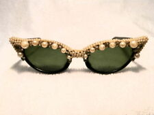 FRENCH 1950's SUNGLASSES HAND CUSTOMIZED WITH PEARLS GREAT CONDITION!
