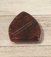 Vintage Carved Root Beer Bakelite Scarf Fur Clip Jewelry Accessory