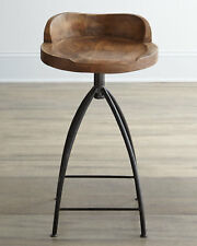 Horchow Arteriors Swivel Counter Stool Industrial Restoration Wood Iron Rustic