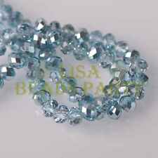 Hot! 30pcs 10X8x6mm Facets Rondelle Charm Loose Glass Spacer Beads Light Blue
