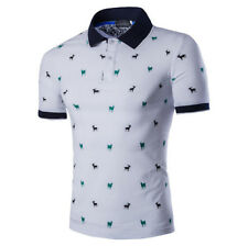 Men Summer Short Sleeve Polo Neck Printed Casual Beach Holiday Blouse Shirt Tops