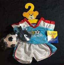 NWT Build a Bear Soccer Outfit Clothes-Shirt, Shorts, Shin Guards and Ball