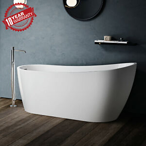 JASSFERRY Modern Design Freestanding Bathtub White Gloss Soaking Baths Acrylic