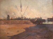 Francisque Noailly 1855 1942 Port En Algérie Huile sur carton Orientaliste