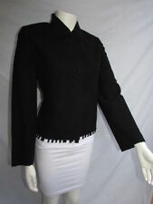 Valentino Women Black Wool Blend Fashion Classic Double Buttons Cuts Jacket 42/8