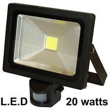 1 x LED PIR Security Motion Detector Outside Lamp Floodlight Light 20W Black
