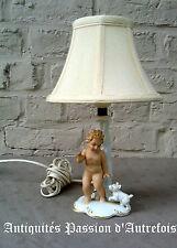 """B2016478 - Lampe """" putti """" en porcelaine Allemande - TB état - Fonctionne"""