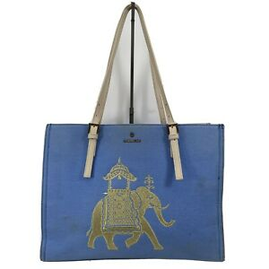 Spartina 449 Sand Tote Blue Canvas Purse With Gold Elephant