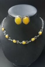 Vintage RARE RUSSIAN EGG YOLK AMBER STERLING SILVER  NECKLACE & EARRINGS