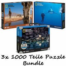 Clementoni National Geographic Puzzle 1000 Teile 3er Bundle Eisbären Hai Zebra