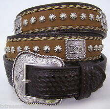 NOCONA belts western accessories HORSE HAIR & CONCHOS BROWN LEATHER BELT 46 NWT!