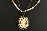 NEW Cameo Double-Strand Necklace Vintage-Style Free Ship 693k04