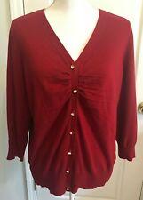 TALBOTS Womens Cardigan Sweater RED 3/4 Sleeve Size XL Petite